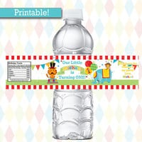 Personalized Fisher Price Circus Birthday WATER BOTTLE labels | 1st Birthday Carnival Party, Printable | Water Bottle wraps
