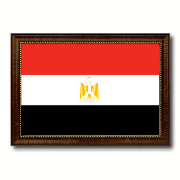 Egypt Country Flag Canvas Print with Brown Picture Frame Home Decor Gifts Wall Art Decoration Gift Ideas