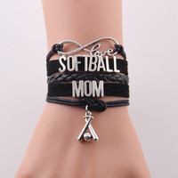 Infinity Love SOFTBALL MOM bracelet charm leather wrap bracelet & bangles women