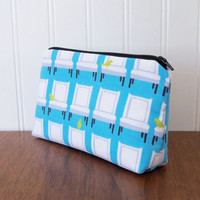 Cosmetic Bag - Laurie Wisbrun Chairs - Cotton Zippered Pouch - Blue Cosmetic Bag - Tufted Tweets Fabric - Make up Bag - Medium Zipper Pouch