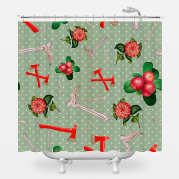 Crimson Flowers & Fibulas Shower Curtain