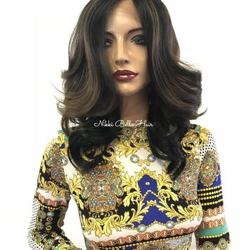 """Black Balayage' Swiss lace front wig 12"""" 