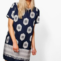 Edie Cap Sleeved Border Print Shift Dress