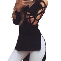 Black Cutout Sleeve V-Neck High-Low Top