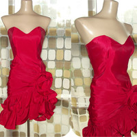 Vintage 80s Tadashi Shoji Red Cocktail Dress | Strapless Bustier Dress | Ruched Hourglass Dress | Hi Low ruffled Hem | Origami Taffeta Dress