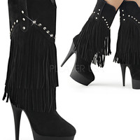 Platform Fringe Mid Calf Boots With Rhinestone-Stripper Boots