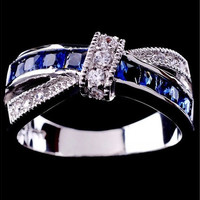 Engagement Cross 925 sterling silver Blue Sapphire Wedding Band Rings Sz 6-10