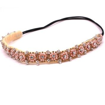vintage bohemian ethnic tribal pink seed beads flower with sequin handmade elastic headband hair band design hair accessories