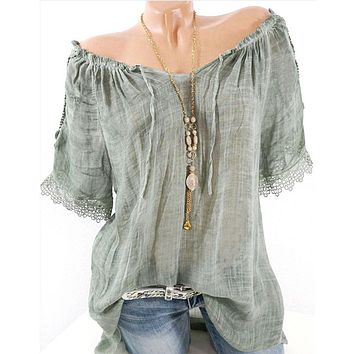 Ships From Usa Off Shoulder Short Sleeve Casual Top - Peasant Shirt