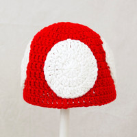Super Mario Bros. Mushroom, Red, Green, or Purple Crochet Beanie,  send size choice baby - adult