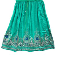 Sea Green Sequin Skirt Hippie Bohemian Rayon Beaded Peasant Skirts for Womans