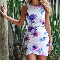 Tropical Goddess Watercolor Floral Dress