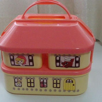 Red riding hood Kawaii lunch box or Sewing box.Japan anime girl
