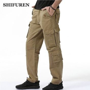SHIFUREN Fashion 2017 Men Baggy Cargo Pants Loose Fit Multi Pocket 100% Cotton Causal Cargo Pants Full Length Plus Size 28-40