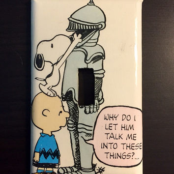 Artimorean-Made Vintage 70s Peanuts Charlie Brown & Snoopy meet The Knight Decoupaged Wall Plate - Art by Charles Schultz!