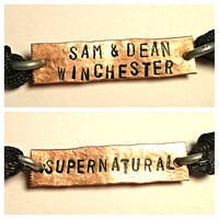 Sam & Dean Winchester Supernatural two sided copper adjustable cord bracelet