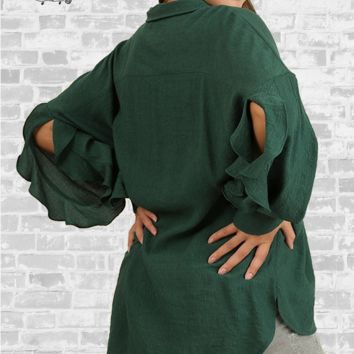 Open Sleeve Ruffle Blouse - Forest Green - XL or 1X only