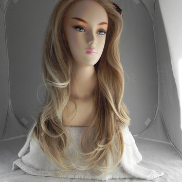ON SALE / Fawn / Dirty Blonde Ash Ombre / Long Wavy Lace Front Wig Full Body Curly