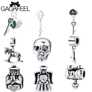 GAGAFEEL DIY Beads Women Men Jewelry Making Unique Shoe Skull Key Charms Fit For Pando