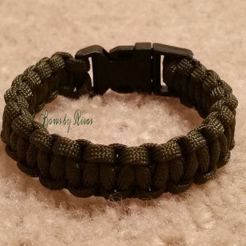 Olive Green Paracord Survival Bracelet Black Plastic Buckle Camping Hiking Fashion Accessory