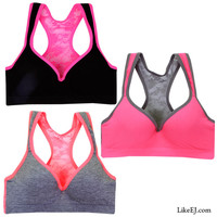 Floral lace racerback Push up for support Sports Bra Yoga top # 5503