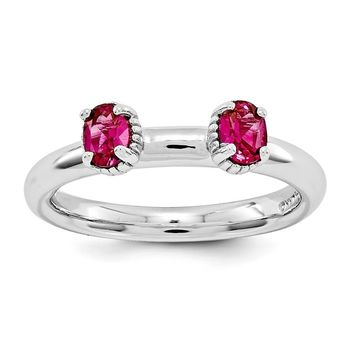 Sterling Silver Stackable Created Ruby Oval Two Stone Ring
