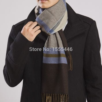 Free Shipping Fashion Winter Mens Intimation Cashmere Scarf Warm Tassel Infinity Scarves For Men High Quality Pashmina Shawls