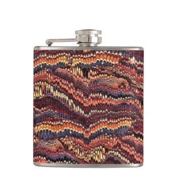 Vintage Marbled Paper in earthy Red Hip Flask