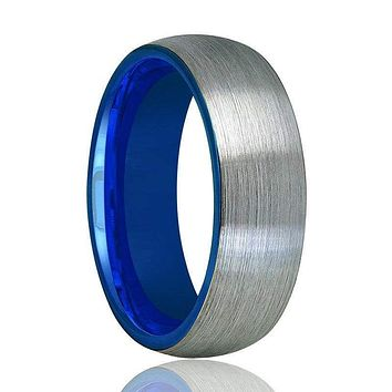 Domed Tungsten Wedding Ring With Blue Inside & Brushed Finish 2mm - 8mm