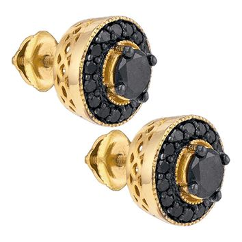 Yellow-tone Sterling Silver Mens Round Black Color Enhanced Diamond Stud Earrings 2-1/12 Cttw