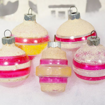 Unsilvered Shiny Brite Christmas Ornaments Vintage Pink White Yellow Mica Striped Lantern Set of 5 Five WWII Era 1940's