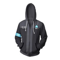 Game Detroit: Become Human Hoodie Men's Casual Hoodies Sweatshirt RK800 Kara AX400 3D Printing Hooded Zipper Coat Tops