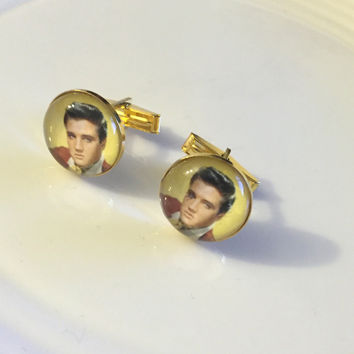 Elvis Cuff Links, Elvis Presley Cuff Links, Elvis Presley, Silver Charm Cuff Links, Gift for Him, Boyfriend Gift, Husband Gift, Elvis Gift