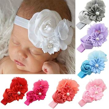 Luck Dog Girl Flower Pearl Flower Hair Band Headband Hairband Hair Accessories BU