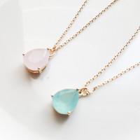 Mint drop glass stone gold chain necklace