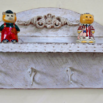 Wood Coat Rack -Shelf combination, Shelf with Hooks,Very Aged, Antiqued, Very distressed