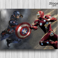 captain america civil war poster avengers decor marvel print captain america vs iron man poster