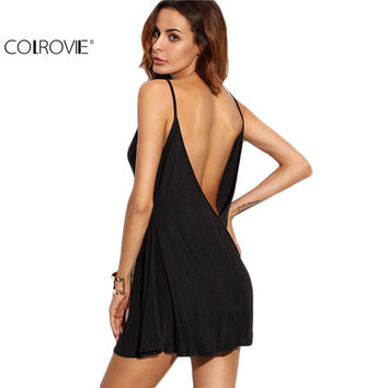 COLROVIE Fashion Dresses for Women Loose Fashions Beach Mini Dresses Black Backless Slip Sleeveless A Line Dress