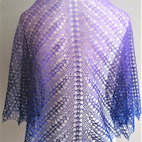 Gradient Pale Lilac Purple To Royal Blue Lace Crochet Shawl Scarf Extrafine Merino Wool Silk Yarn Handmade Versatile Lightweight