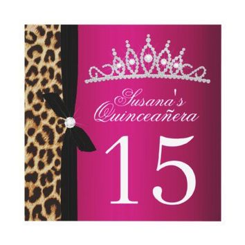 leopard hot pink Quinceanera Custom Invites
