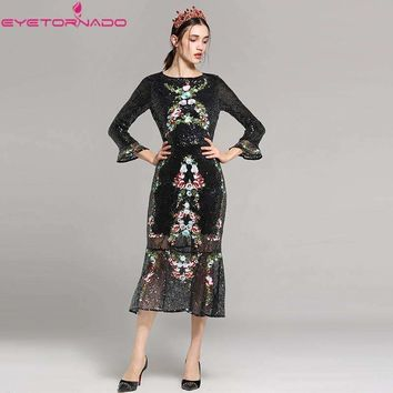 Flower Embroidery Flare Sleeve Sequined Dress See Through Work Party Ball Formal Mermaid Dress Vested E7757
