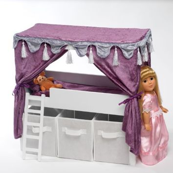 "Doll Canopy Bed & Storage Set Fits American Girl 18"" Inch Dolls Furniture"