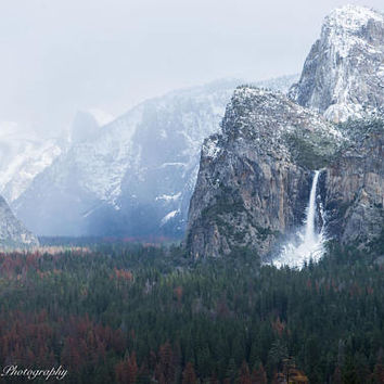 Yosemite View in the Snow Wall Art Print -- Fine Art landscape photography, Waterfall, California, Forest, Home Decor, HeatherRobersonPhoto