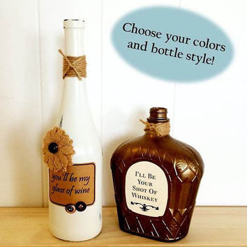 Customizeable Set - Decorative Painted Bottle Set with Country Song Lyrics