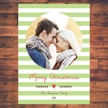 Simple Modern Christmas Holiday Photo Card Seasonal X'mas Greeting Card Stripe Script Doodle Line Christmas Decoration Digital Printable