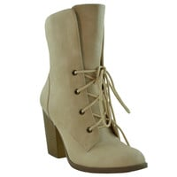 Womens Ankle Boots Chunky High Heel Lace up Comfort shoes Taupe