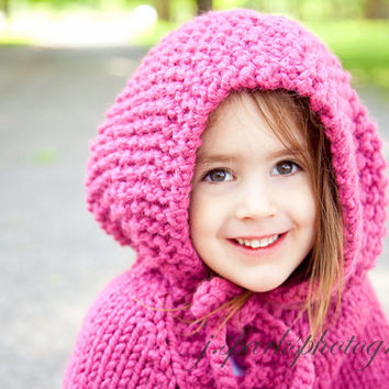 Childs Poncho With Hood Knitted In A Wool-blend Size 2 Red Blue Aquamarine Raspberry Pink Brown Purple