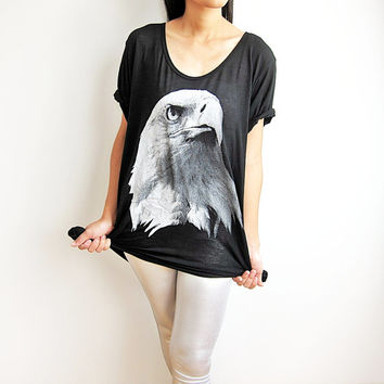 Bald Eagle T Shirt Women Black T-Shirt Size M