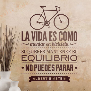 Wall Stickers In Spanish Home Decoration - LIFE IS LIKE A BICICLETA vinilo adhesivo de pared con texto albert einstein