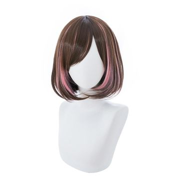 Youtuber Kizuna AI Cosplay Wig Women Short Bob Brown And Pink Synthetic Hair Wig For Halloween Party Costume + Wig Cap